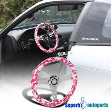 """2"""" Deep Dish 350mm 3-Spoke Sport Racing Wood Steering Wheel Flamingo Pink Flower"""