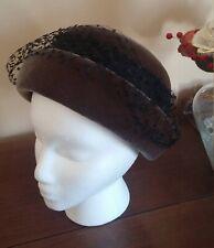 Vintage Women's Irene of New York Bowler Hat Brown Velvet, Ribbon, Netting Veil