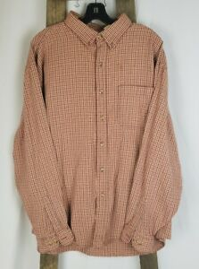 L.L. Bean men XL shirt red plaid long sleeve button down cotton