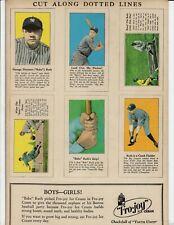 1928 Fro-Joy Uncut BABE RUTH Sheet 6 Cards REPRINT Free Shipping