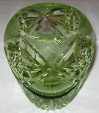 "Antique/Vintage Crystal Glass Cut Glass Green Vase - 6"" Ht x 4 1/2"" Diameter"
