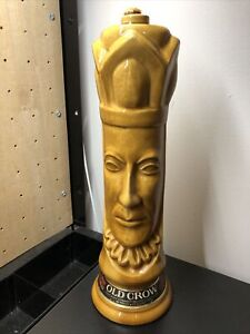 Vintage Old Crow Chessmen Ceramic Decanter King Chess Gold 1960's