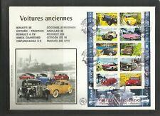 France FDC premier jour voitures anciennes 2CV Volkswagen Renault Ferrari autos