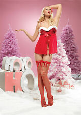 Leg Avenue 31031 Christmas Santa Underwire Sequined & Fur Babydoll w/G-String