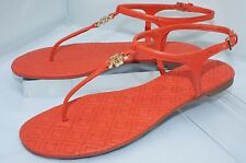 New Tory Burch Marion Shoes Sandals Flats Size 8.5 Poppy Red Quilted Thongs