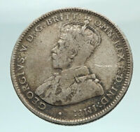 1925 AUSTRALIA UK King George V KANGAROO Genuine Silver Shilling Coin i74479