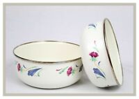 "POPPIES ON BLUE BY LENOX (1984-2007) SET OF (2) METAL BOWLS - 7"", 7 3/4"""
