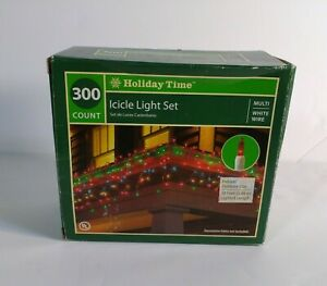 Holiday Time 300 Count Icicle Lights Set MultiColor White Wire 18 ft New