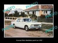 OLD 8x6 HISTORIC AUSTRALIAN PHOTO OF VICTORIAN POLICE STUDEBAKER CAR c1965 1