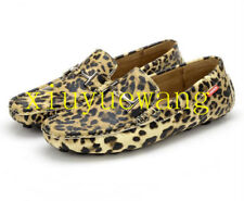 Mens Leather Loafers Flats Leopard Driving Moccasins Gommino Shoes Comfy Slip On