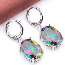 Lovely Teardrop Shaped Natural Rainbow Colored Topaz Silver Dangle Earrings