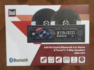 "Dual AM/FM Digital Bluetooth Car Stereo & Two 6 1/2"" 2-Way Speakers XDM17SPK New"