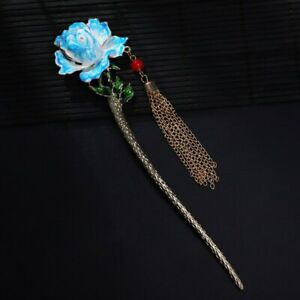 Chinese Style Traditional Rose Flower Hairpin Women Hair Sticks Accessories