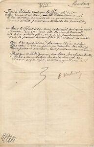 Paul VERLAINE / Poème autographe signé issu de son recueil Sagesse. 1887