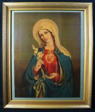 More details for vintage catholic christian icon sacred heart of the virgin mary