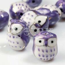 10pcs Porcelain Ceramic Owl Beads charm 17x15mm Fit bracelet Purple PB0012