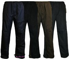 Mens Elasticated Fleece Lined Thermal CargoCombat Trousers Pants Fishing Hunting