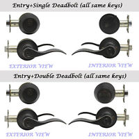 Front Door Entry Lever Lockset Double Single Cylinder Deadbolt Combo Set Locks