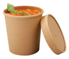 50 X 8 oz Disposable Paper Cup Pasta Deli Soup Ice Cream Tub Bowl With Lid Kraft