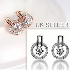 18k Rose Gold/White Gold Plated Silver Crystal Zircon Circle Stud Drop Earrings