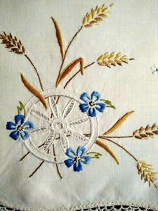 Unique Wagon Wheel & Wheat Grasses  Vintage Hand Embroidered Centrepiece