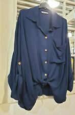 Navy Blue Slouch Italian Fabric Blouse Top One Size Fits 12-16 BNWT