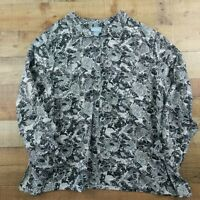 Liz & Me Button Down Shirt Long Sleeve Poly Grey Floral Plus Size 5X
