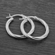 Genuine 925 Sterling Silver 22mm Twisted Creole Hoop Sleeper Earrings