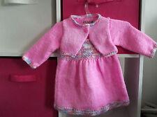 ensemble 0/3 mois - robe bebe à bretelles,boléro court et chaussons