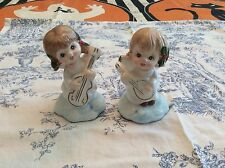 "2 Vintage Angel Figurines Playing Instruments - 3 1/4"" - Sweet"