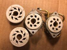 4 Vintage Ceramic Octal Vacuum Tube Sockets 8-Pin Amphenol
