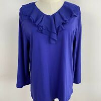 Noni B Womens Blue Ruffle V Neck Stretch Jersey Long Sleeve Blouse Top Size XL