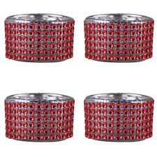 Pack of 4 - Decorative Red Diamante Jewelled Tea light Candle Holders