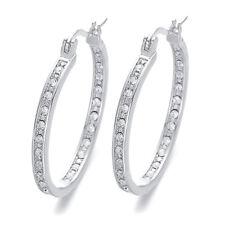 Women 925 Silver Crystal Rhinestone Large Hoop Dangle Earrings Wedding Jewellery