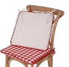 AMADEUS lot de 3 Galettes de chaise campagne vichy rouge pois blanc pompon NEUF