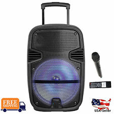 """12"""" Portable Speaker 1300W PA System 1 Wireless Mic Bluetooth Rechargeable LED"""