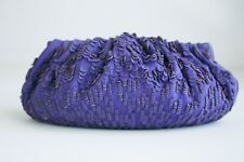 Diane Von Furstenberg Purple Leather Soft Shell Long LArge Rectangular Clutch
