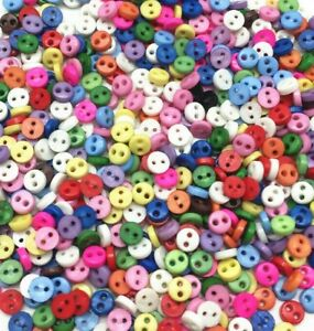 300 4mm ROUND TINY SMALL RESIN DOLL BUTTONS MIXED COLOUR CRAFT SCRAPBOOK SEWING
