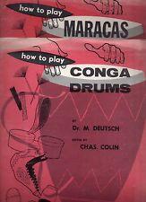 INSTRUMENT DE MUSIQUE MUSIC HOW TO PLAY CONGA DRUMS + MARACAS 1956 DEUTSCH