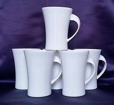 Set of 6 Plain White Bone China Oval Shaped Twist Mugs Modern