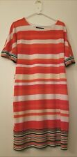 RB COLLECTION NEW YORK SZ M SHIFT DRESS MULTI COLOR STRIPES SLINKY LINED WOMEN