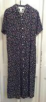Susan Bristol Black Floral Print Dress Large Short Sleeve Linen/Rayon Washable