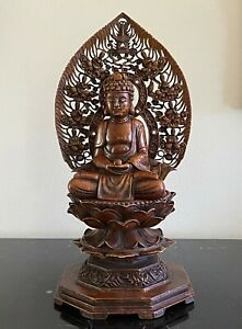 """Antique Japanese Seated Detachable Carved Stone Buddha Statue 13.5"""" High"""