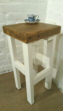 Hand Painted F&B White Hand Made Reclaimed Solid Wood Kitchen Island Bar Stool