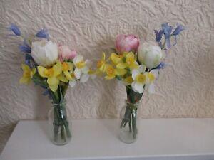 Peony QVC Spring Flowers in Glass Jar Vase x 2 & Wicker Basket