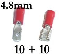20 RED Female/Male Spade Connector Terminals - 4.8mm