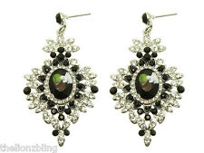 Urban Victorian Gothic Silver Earrings Black & Clear Crystal Bling