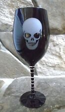 """Tabla Home Halloween Black Frosted Skull Wine Glass with Black Striped Stem 9.5"""""""
