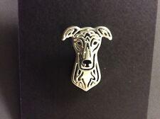 Greyhound Whippet Lurcher Dog Silver Lapel Pin Brooch