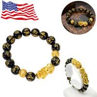 Luck Charm Feng Shui Black Obsidian Wealth Bucket Beads Gold Bracelets Jewelry